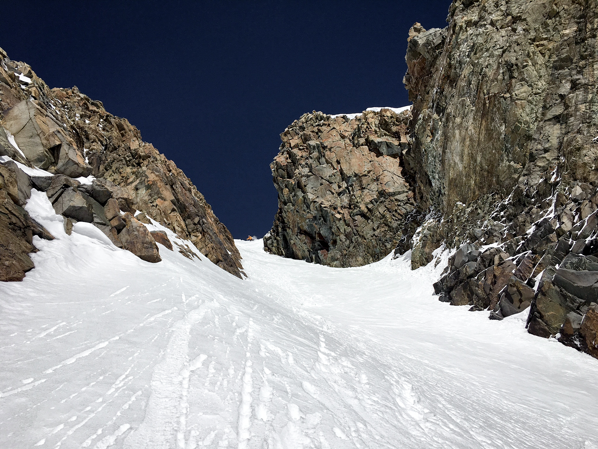 TJ David entering the crux of the couloir. Photo by Patrick Westfeldt.