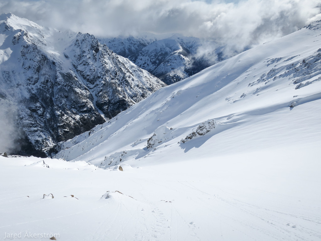 The valley beneath our traverse.